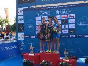 triathlon-europei-2017-alice-betto-bronzo-italia podio europeo 2017 kitzbuhel austria