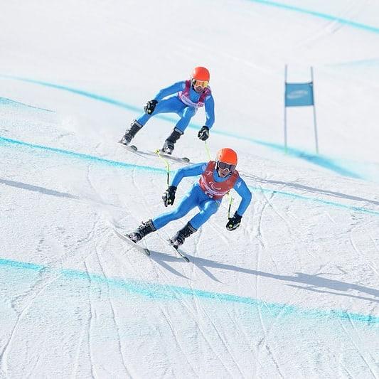 Casal e Bertagnolli impegnati durante una discesa alle Paralimpidi Invernali di PyeongChang 2018